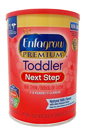 Image result for Enfagrow PREMIUM Toddler Next Step, Natural Milk Flavor. 36.6 oz. Plus Free Bonus 1 Pack of Disposable Baby Bibs and 1 Baby Washcloth.
