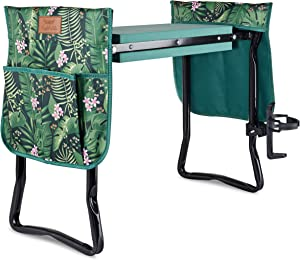 HayloFields Garden Kneeler and Seat, with 2 Tool Pouches, Drink Holder, Floral Pattern - Large, 2-in-1 Garden Stool and Kneeling Pad with Comfortable Foam Seat - Premium Gardening Gifts