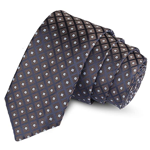 Buy Panjatan Blue With Brown Shaded Bold Squared Minea Patterned Microfiber Skinny Necktie For Men Width 2 5 Inch At Amazon In