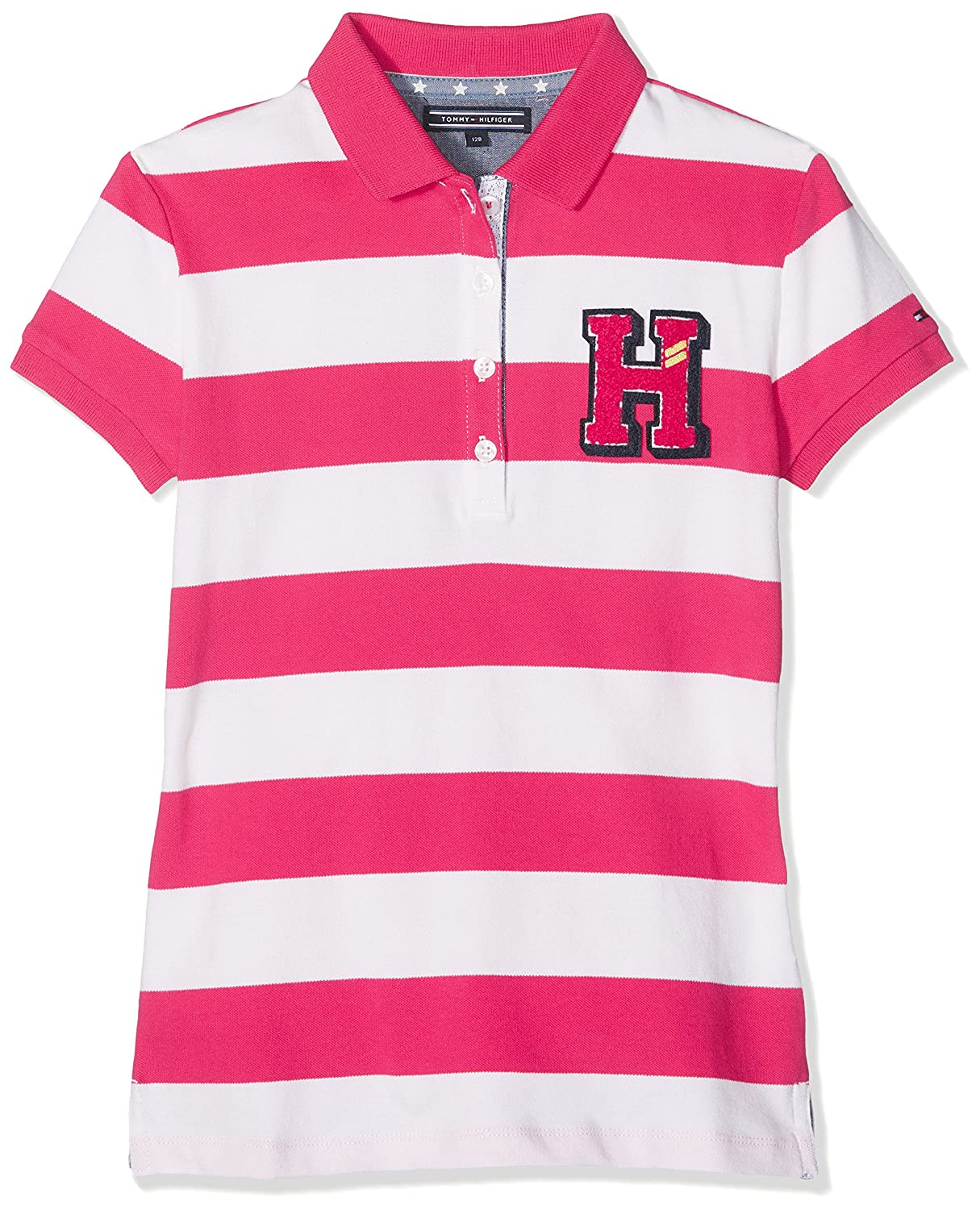 Tommy Hilfiger AME Girls Stripe Polo S/S Shirt Red (Bright Rose 696) 14 Years T.H. Deutschland GmbH KG0KG02323