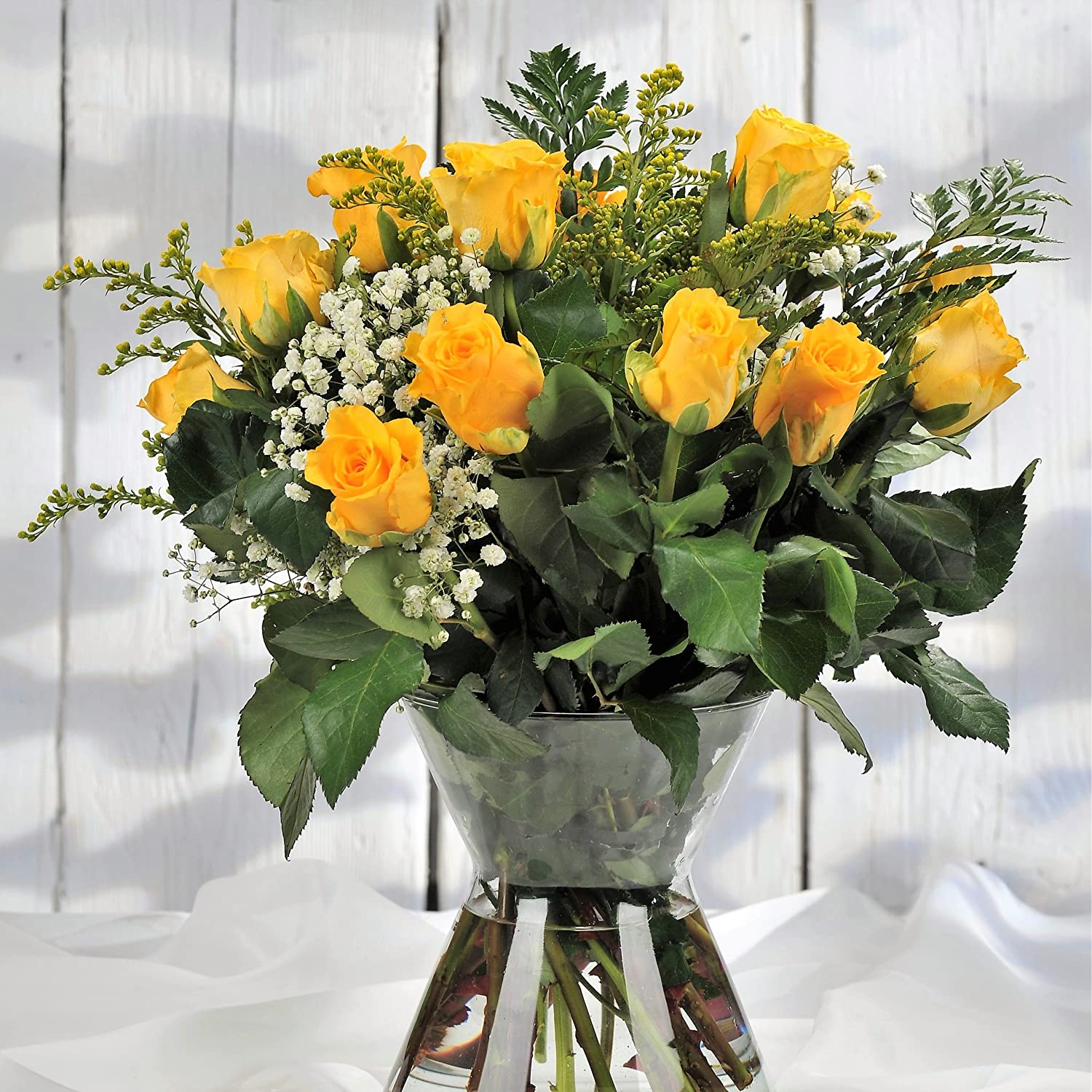 Dozen Yellow Fresh Rose Flower Bouquet - Flowers Delivered FREE Next Day UK Within 1hr TimeSlot 7 Days a Week- Send a Bunch for Special Birthday Homeland Florists