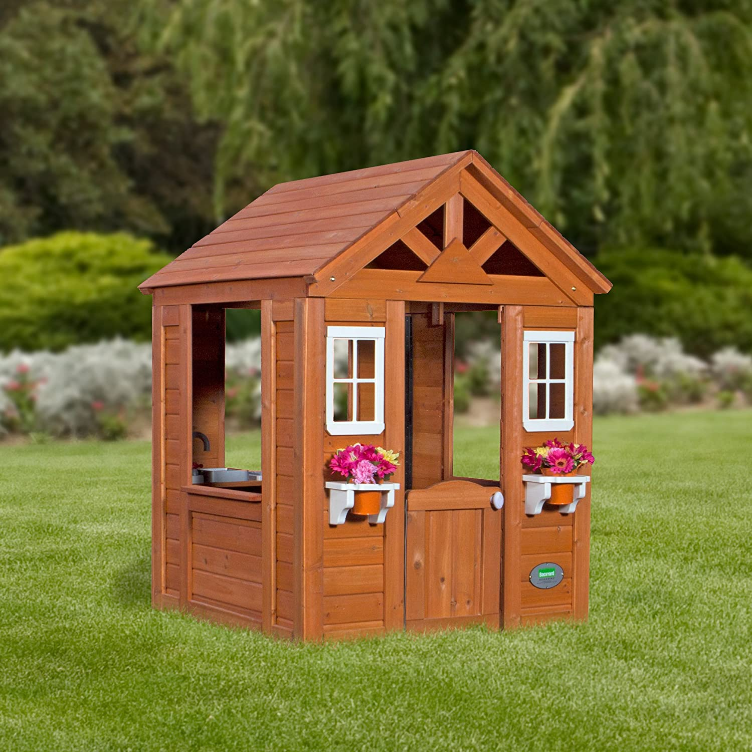 Amazon.com: Backyard Discovery Timberlake All Cedar Wood Playhouse: Toys U0026  Games