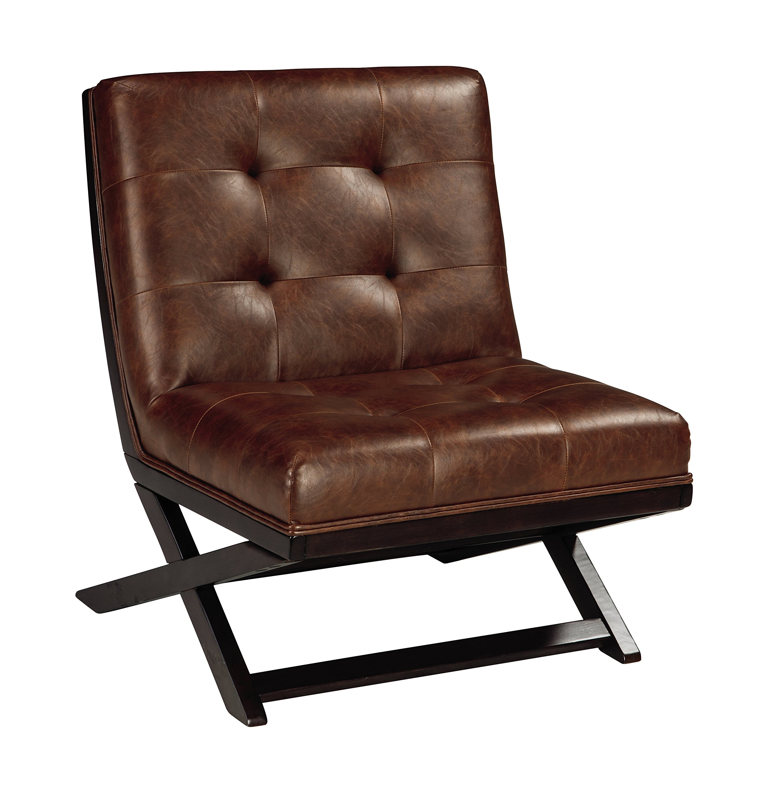 "Signature Design by Ashley - Sidewinder Accent Chair - Tufted Faux Leather - Brown - TUFTED ACCENT CHAIR: Sit back and enjoy high style. The faux leather exudes luxury, while the generous size lets you sprawl out. This armless chair is sure to make a bold statement HANDSOMELY CRAFTED: Sit back on high-resiliency foam cushions wrapped in faux leather upholstery. Designed with an exposed frame in a faux wood finish SCISSOR BASE: Inspired by the Barcelona chair, the ""X"" base and button tufting are chic details that set it apart from the rest - living-room-furniture, living-room, accent-chairs - 91mOlAGyL6L -"