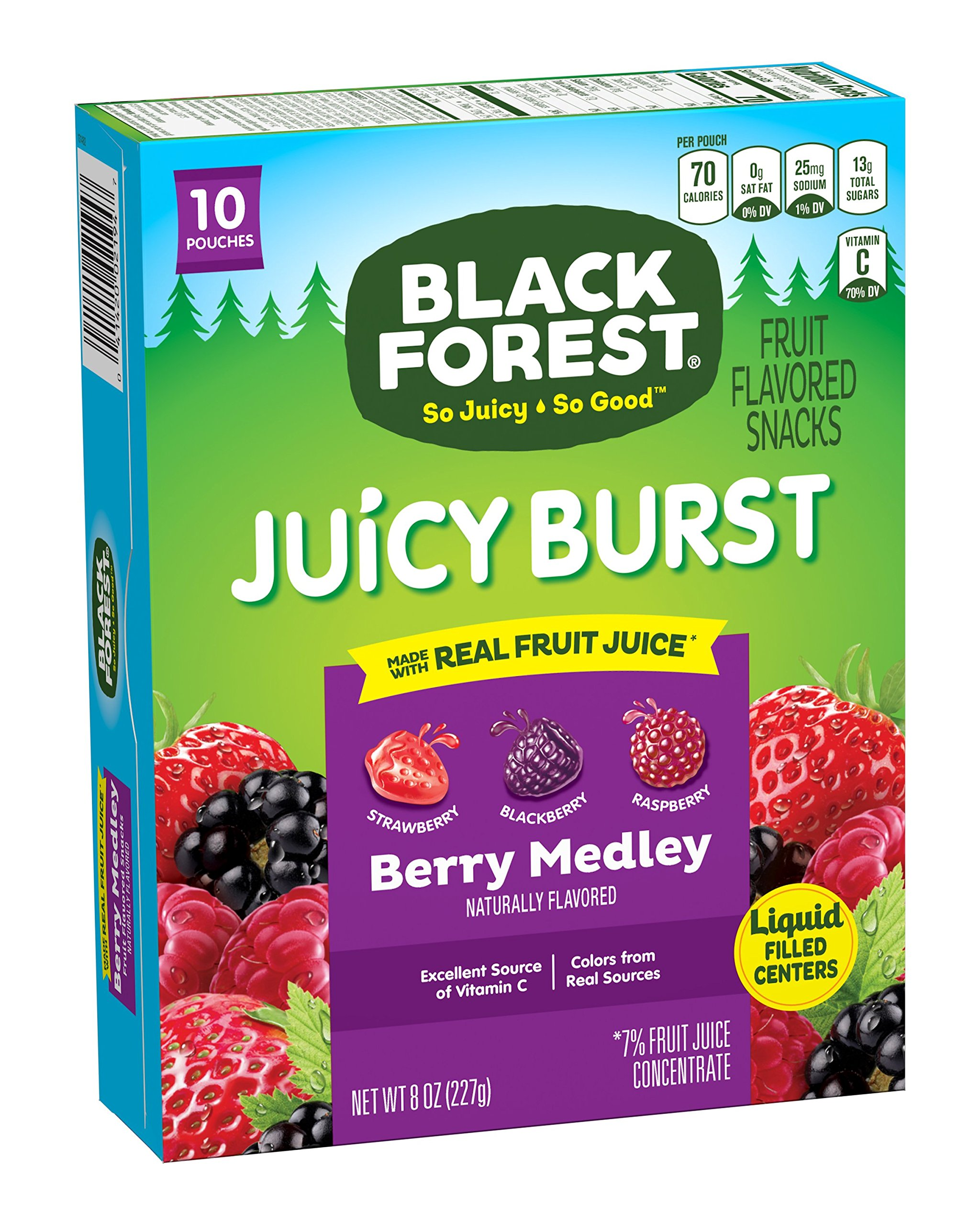 Black Forest Fruity Medley Berry Mix Candy, Strawberry, Raspberry and Blackberry, 10 Count (Pack of 10) by Black Forest