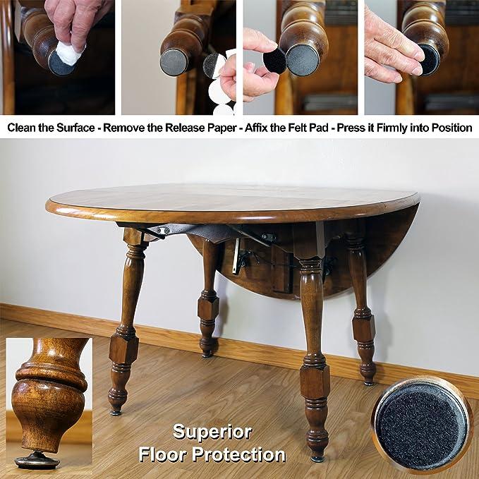 Dura Shield Heavy Duty Self Adhesive Felt Furniture Pads Black