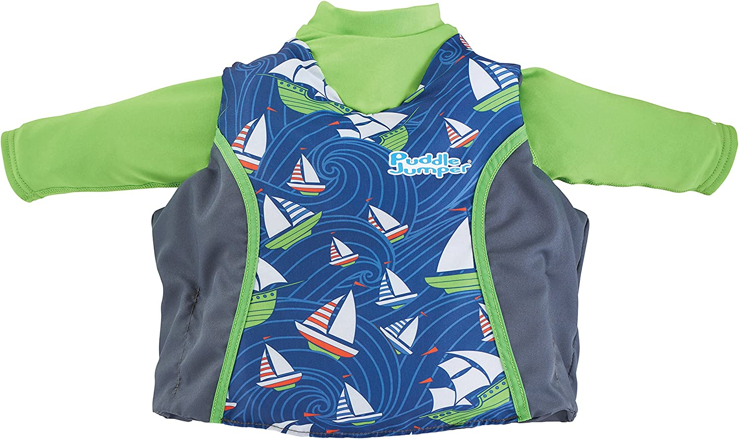 Puddle Jumper Kids 2-in-1 Life Jacket and Rash Guard, Sailboats