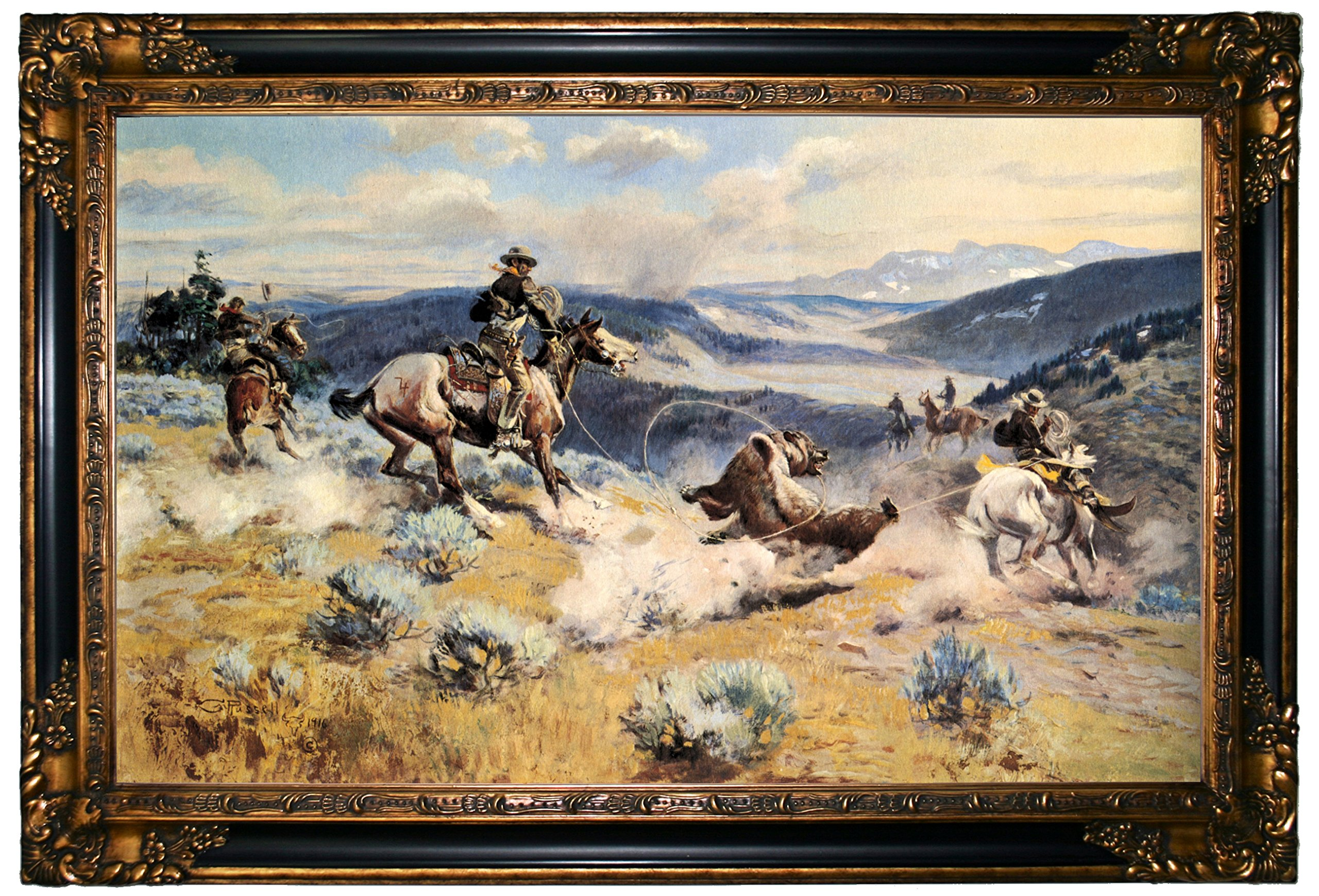 Historic Art Gallery Loops & Swift Horses Are Surer Than Lead by Charles Marion Russell Framed Canvas Print - Gold & Black Gallery - 19x32 by Historic Art Gallery