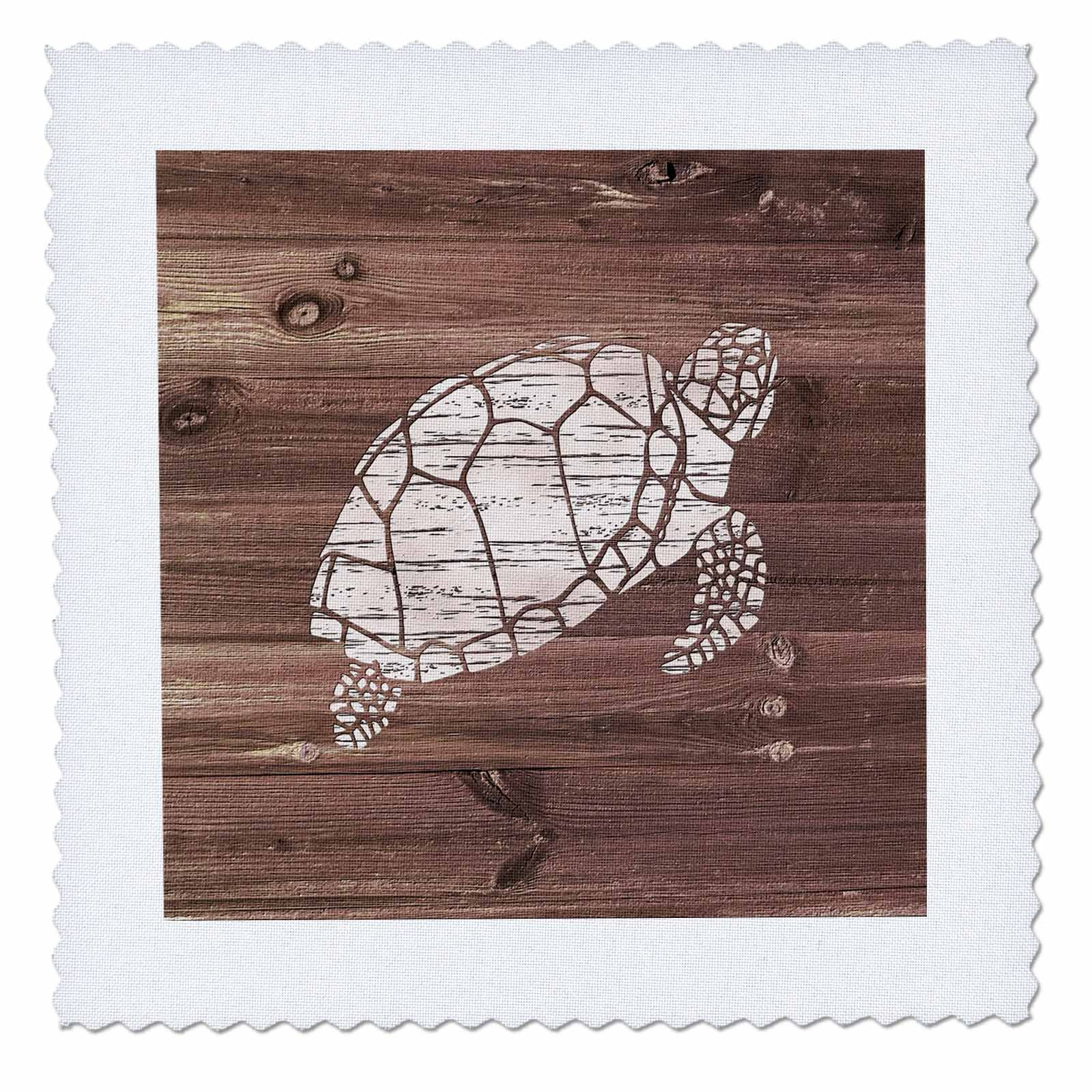 3dRose Russ Billington Nautical Designs - White Painted Turtle on Brown Weatherboard- Not Real Wood - 22x22 inch quilt square (qs_261842_9)