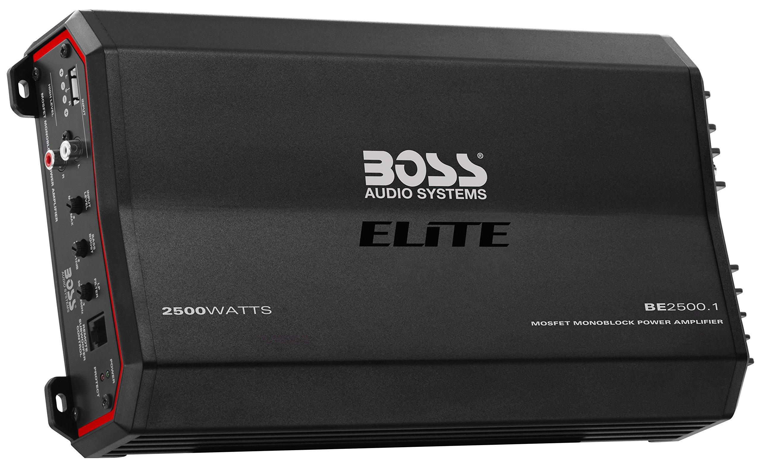 BOSS Audio Elite Series Car Amplifier, Model BE2500.1 | 2500 Watt Monoblock with Mosfet Power Supply
