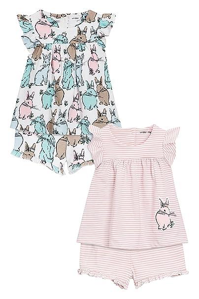 next Niñas Pack De Dos Pijamas Cortos Azules con Diseño De Conejito (9 Meses -
