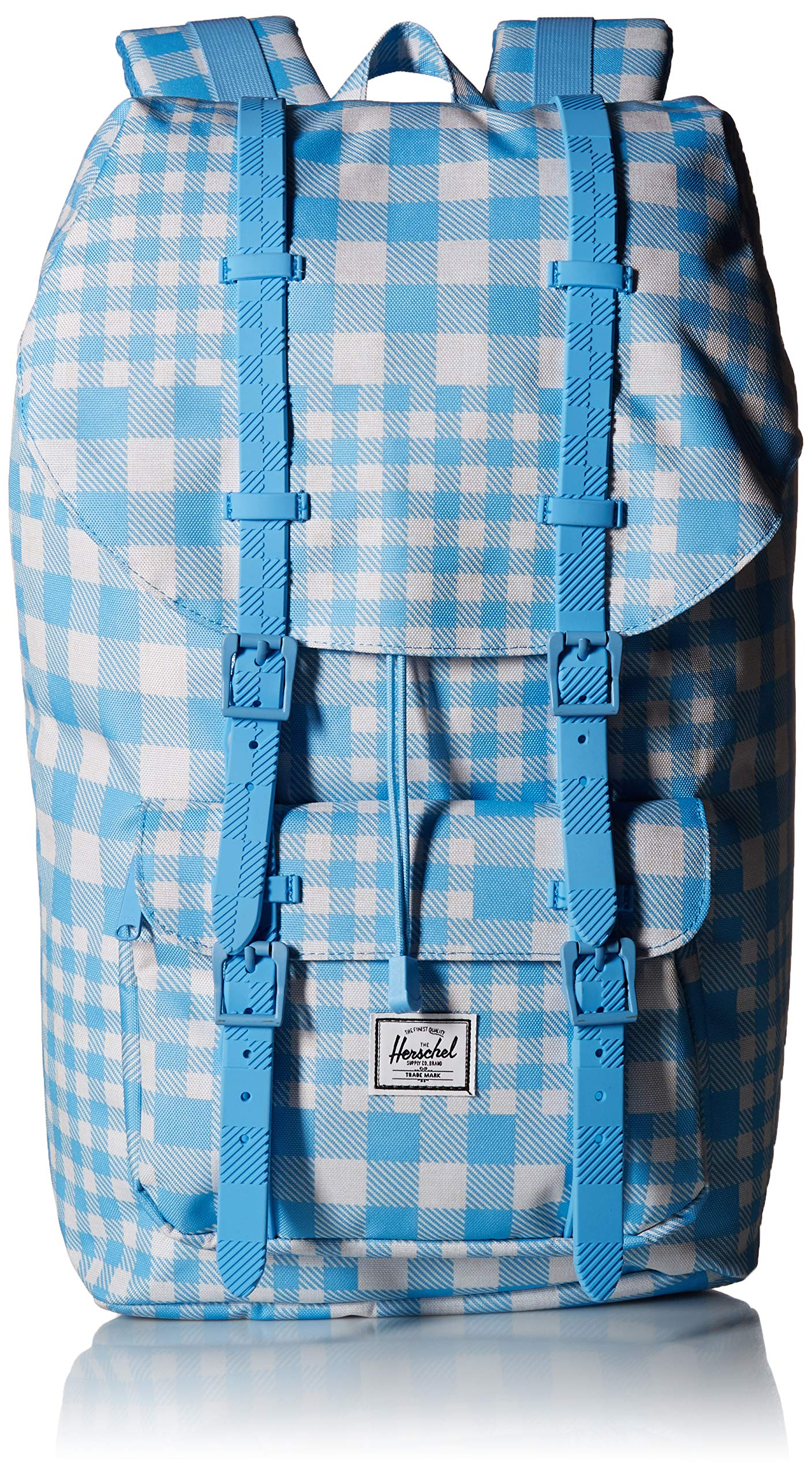 Herschel Supply Co. Little America Flapover Backpack, Gingham Alaskan Blue/Rubber, Classic 25L by Herschel