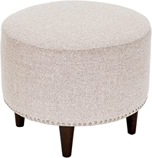 product image for MJL Furniture Designs Sophia Round Fabric Upholstered Ottoman, Camel