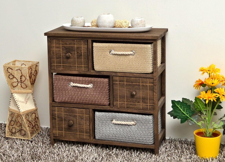 Cómoda rústica con cestas para pasillo,cocina,dormitorio o para el baño