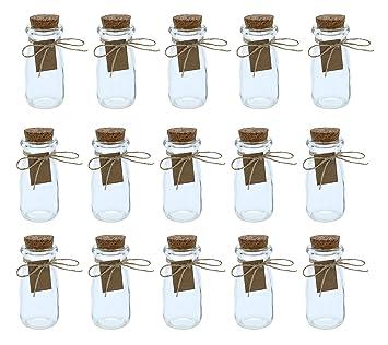 Botellas de cristal transparente con tapas de corcho, 15 unidades, mini tarros de leche