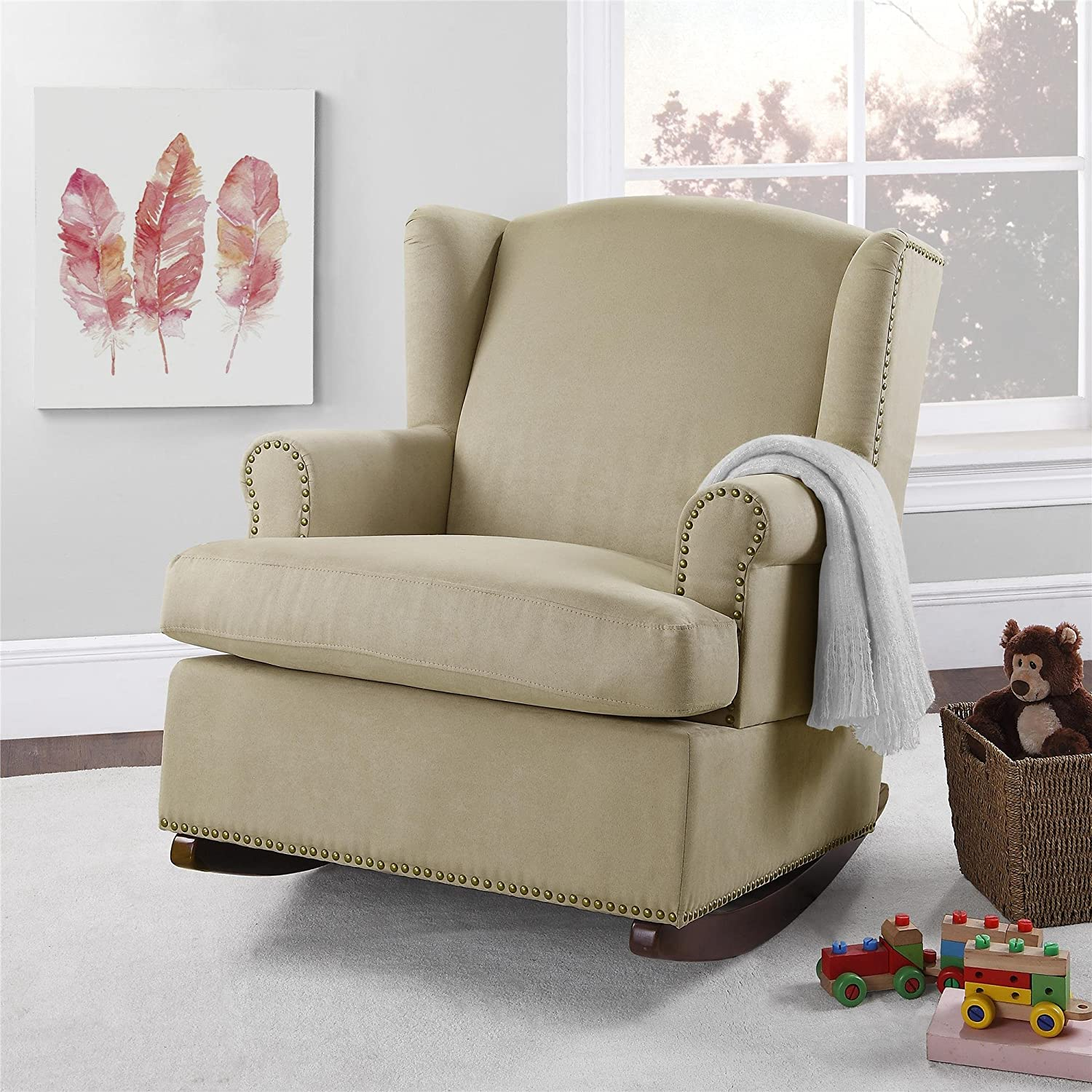 All products baby amp kids nursery furniture rocking chairs - Amazon Com Baby Relax Harlow Wingback Nursery Room Rocker With Nail Heads Beige Baby