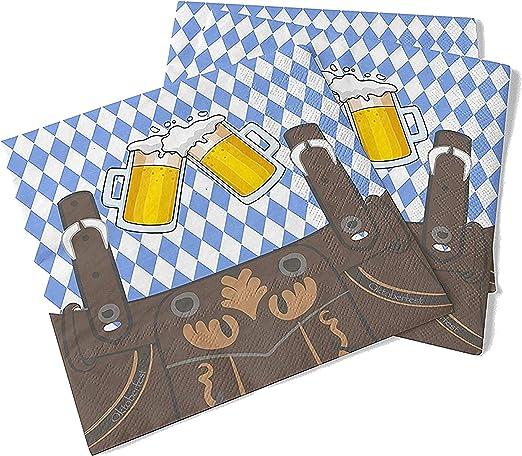 20x servilletas 33x33 cm Wiesn Bavarian Oktoberfest azul y blanco ...