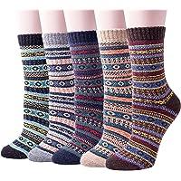 Chaussette en Laine Tricot Chaud Épais pour Femme Homme Vintage Automne-Hiver Socks Lot de 4/5