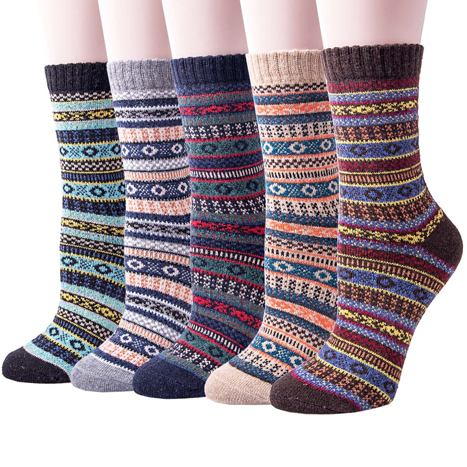 5 Pairs Womens Socks - Wool Thick Knit Warm Winter Casual Socks for Ladies B07H9RCTHF