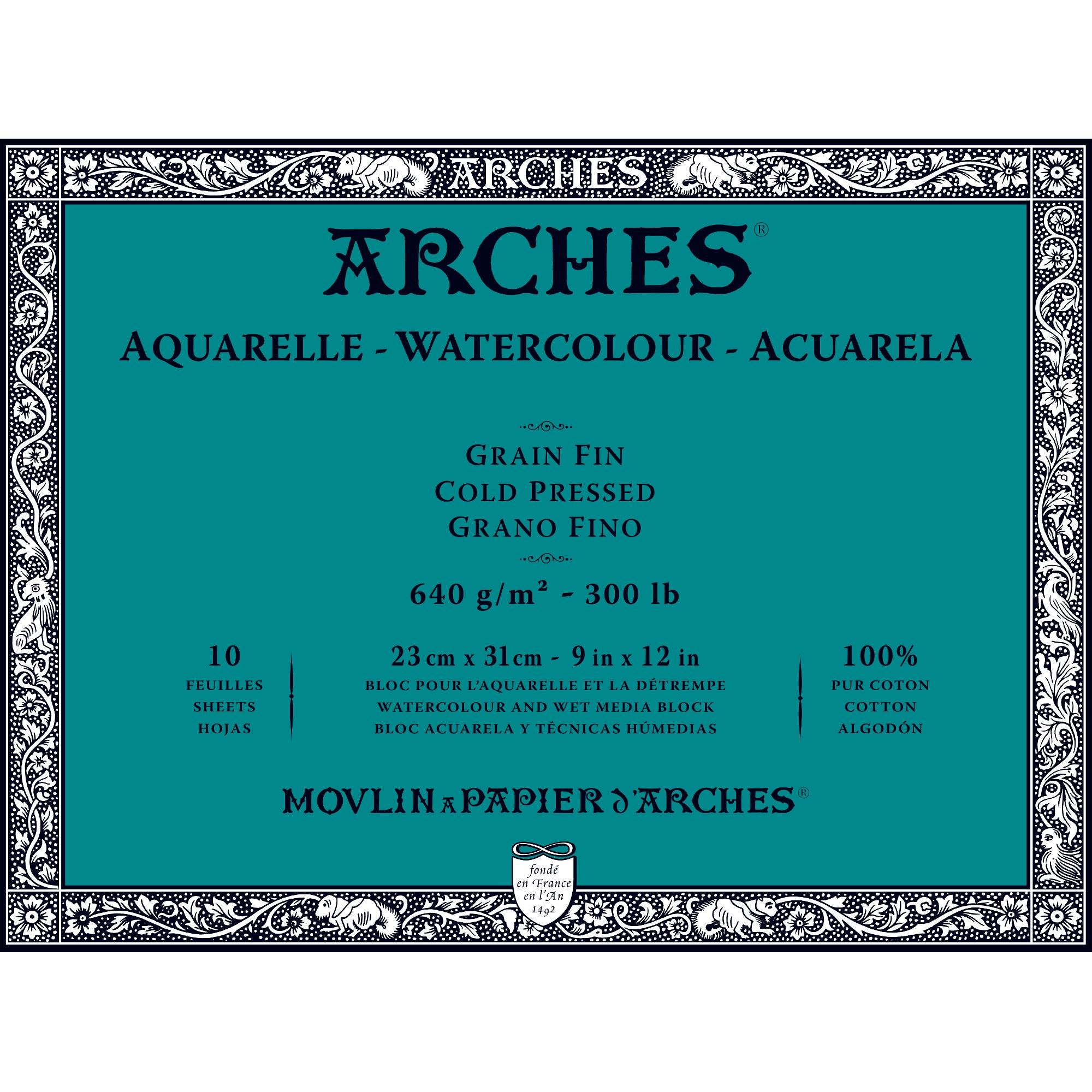 Arches Water Colour Block, 300 lb / 640GSM, Cold Pressed, 9'' x 12'' by Arches