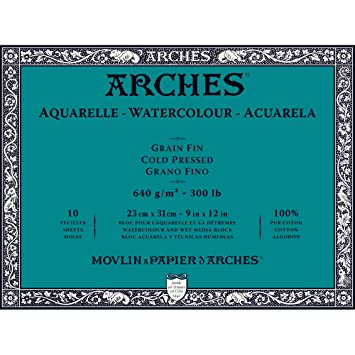 Arches Water Colour Block 300 Lb 640gsm Cold Pressed 9 X 12