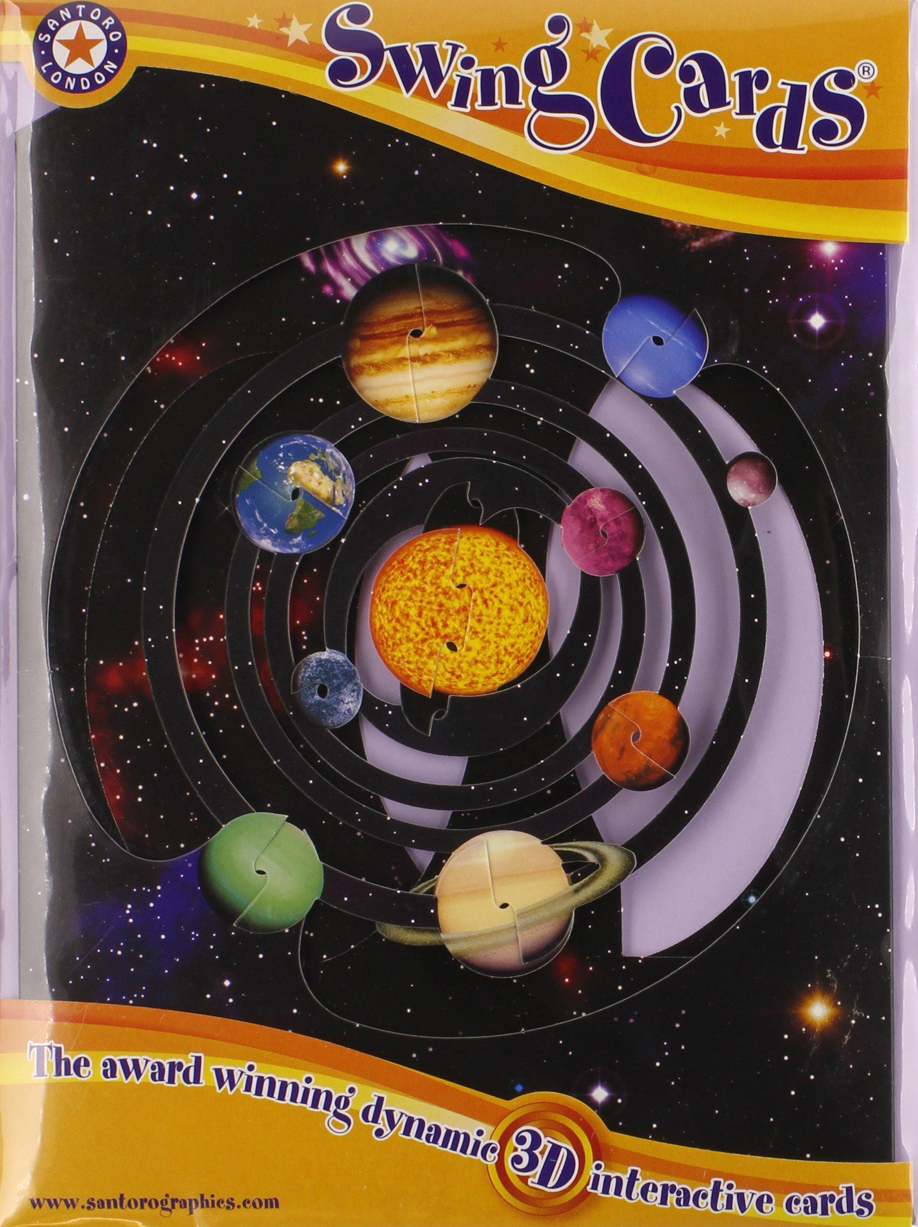 Boston International Santoro Solar System 3-D Interactive Swing Greeting Card