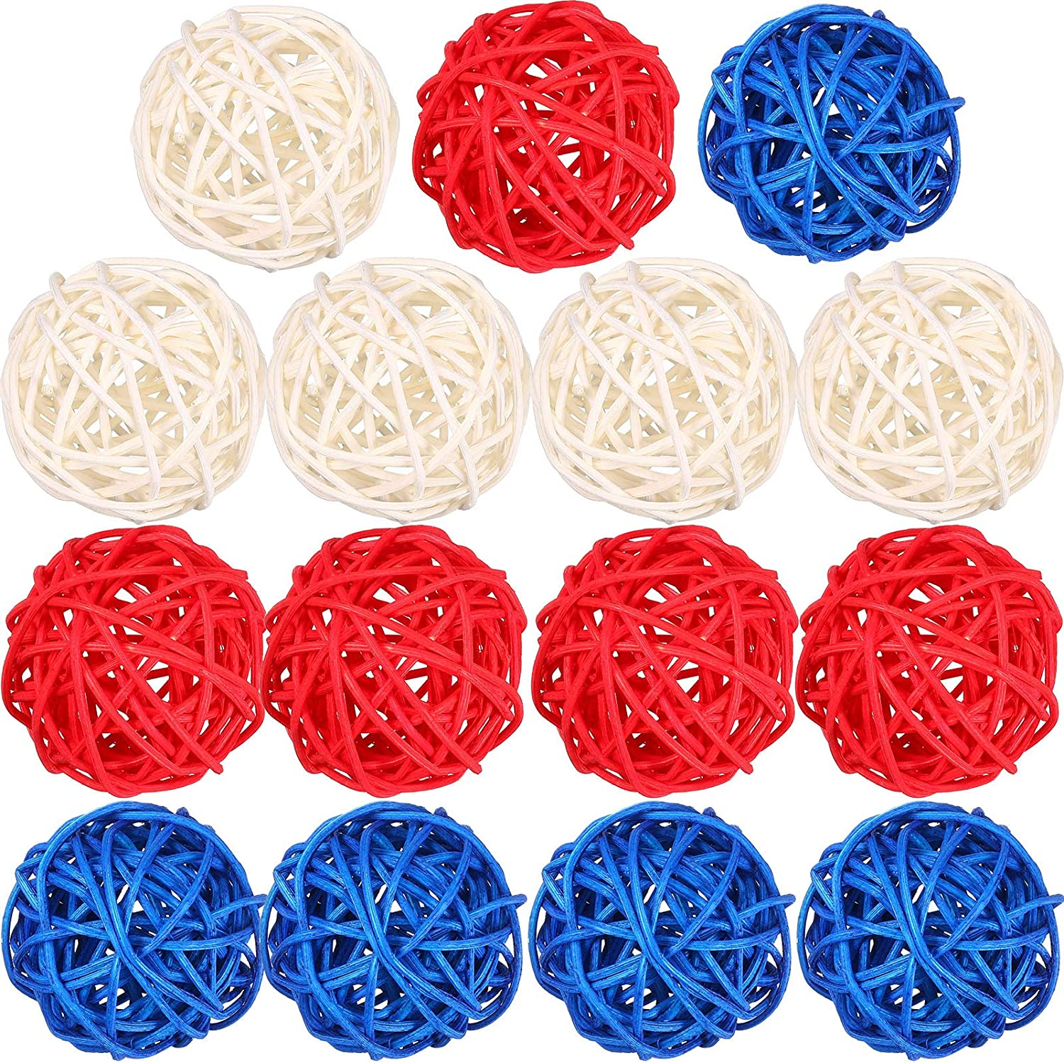 15 Pieces 1.8 inch 4th of July Wicker Rattan Balls Patriotic White Blue Red Decorative Ball Vase Bowl Fillers Natural Sphere Orbs Table Decoration for Independence Memorial Day Home Garden Party Decor