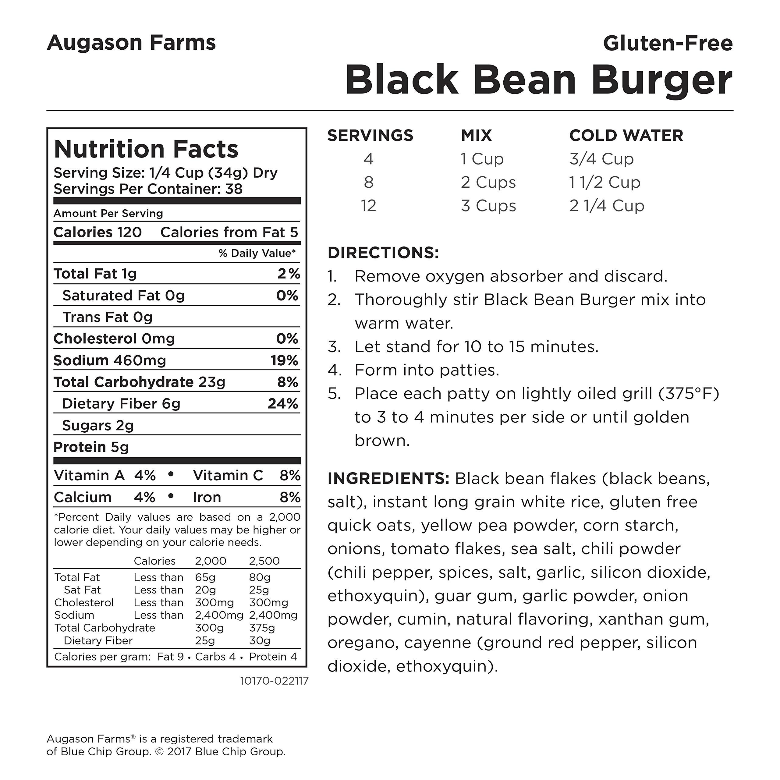 Augason Farms Gluten-Free Black Bean Burger 2 lbs 14 oz No. 10 Can by Augason Farms (Image #2)