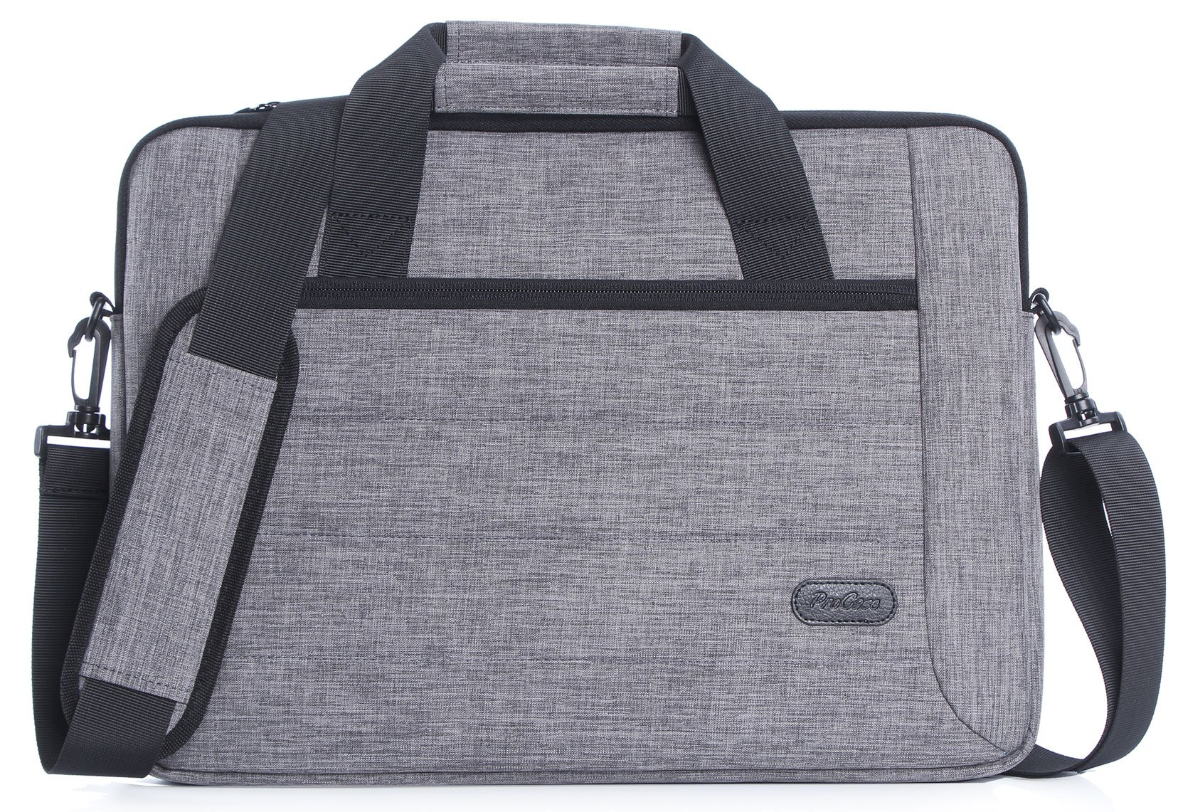 ProCase 14 - 15.6 Inch Briefcase Messenger Bag with Shoulder Strap and Handle for 14 15 Inch Laptop Ultrabook MacBook Chromebook Notebook Computer Acer Asus Dell HP Lenovo Samsung Sony Toshiba -Grey