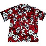 Camiseta hawaiana, diseño clásico de flores (rojas), 100% algodón, talla M-3XL
