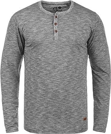 Solid Migos Camiseta Básica De Manga Larga Longsleeve para Hombre con Cuello Grandad De 100% algodón: Amazon.es: Ropa y accesorios