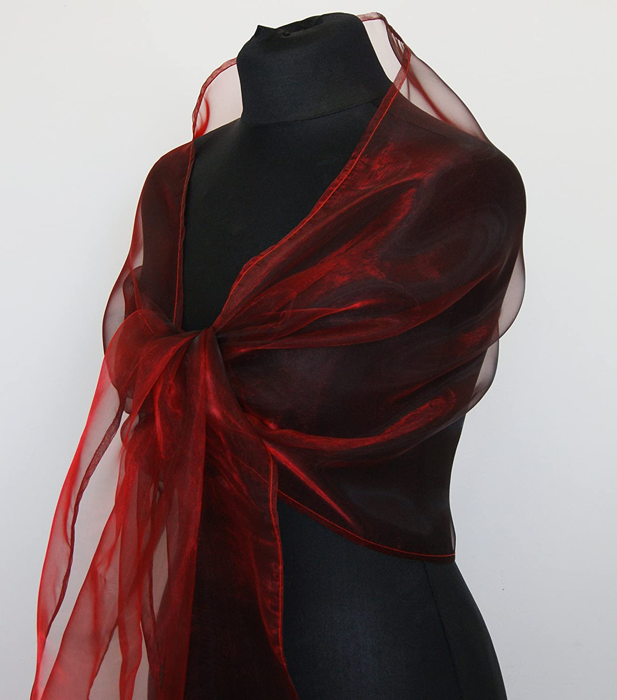 Chal organza color rojo negro novia boda novia para vestido de fiesta: Amazon.es: Handmade