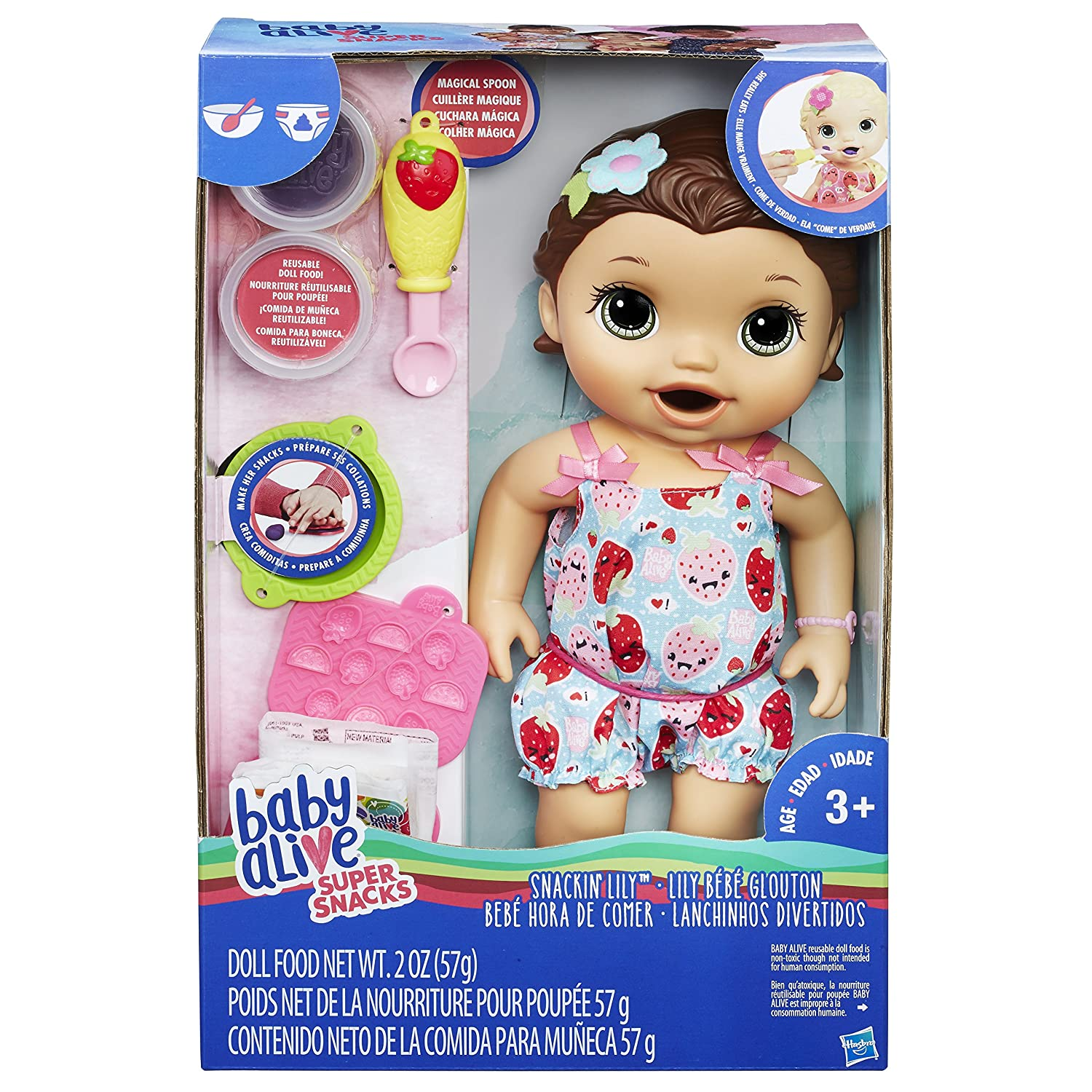 Baby Alive Super Snacks Snackin/' Lily Amazon Exclusive Brunette