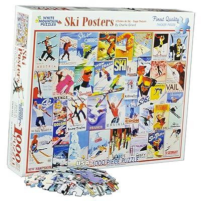 White Mountain Puzzles Ski Posters - 1000 Piece Jigsaw Puzzle: Toys & Games