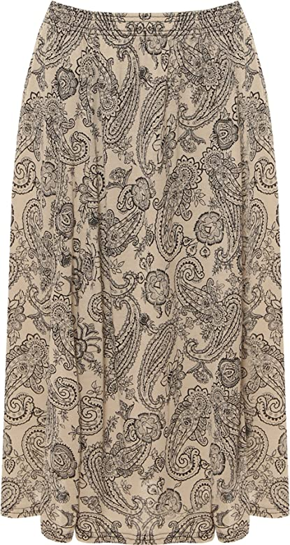 Plus Womens Elasticated Midi Skirt Ladies Floral Flower Print Flared New 16-30