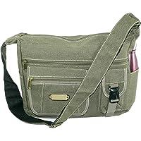 DAHSHA Imported Stylish cotton sling cross body messenger college one side shoulder bag for men women - (Olive, 13.5x4.5x10)