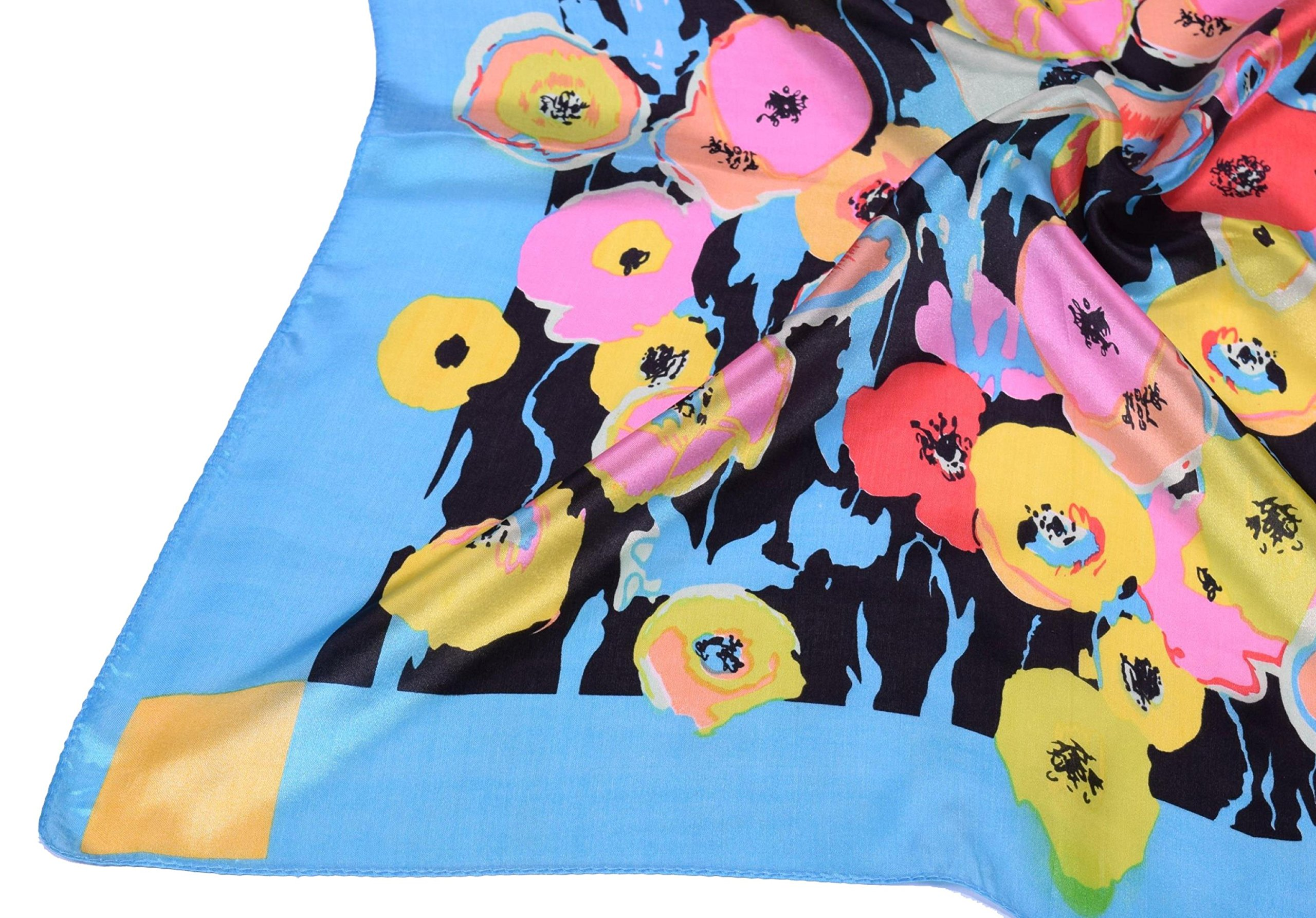Blue Red Pink Flower Printed Fine Small Square Silk Scarf by Bees Knees Fashion (Image #5)