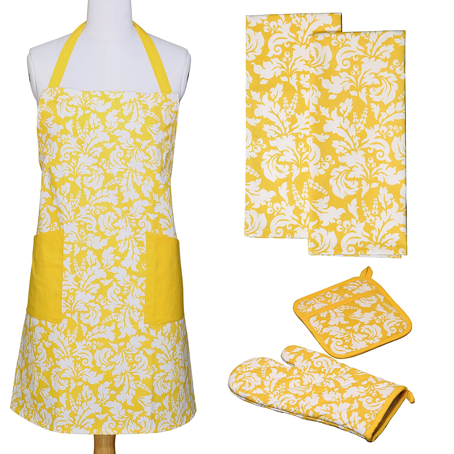 Yourtablecloth Kitchen Gift Set-1 Kitchen Apron, an Oven Mitt & A Pot Holder-2 Kitchen Dish Towels or Tea Towels-Ideal Cooking Gifts or Gift Ideas for Chefs-Suitable for Men & Women-Marigold