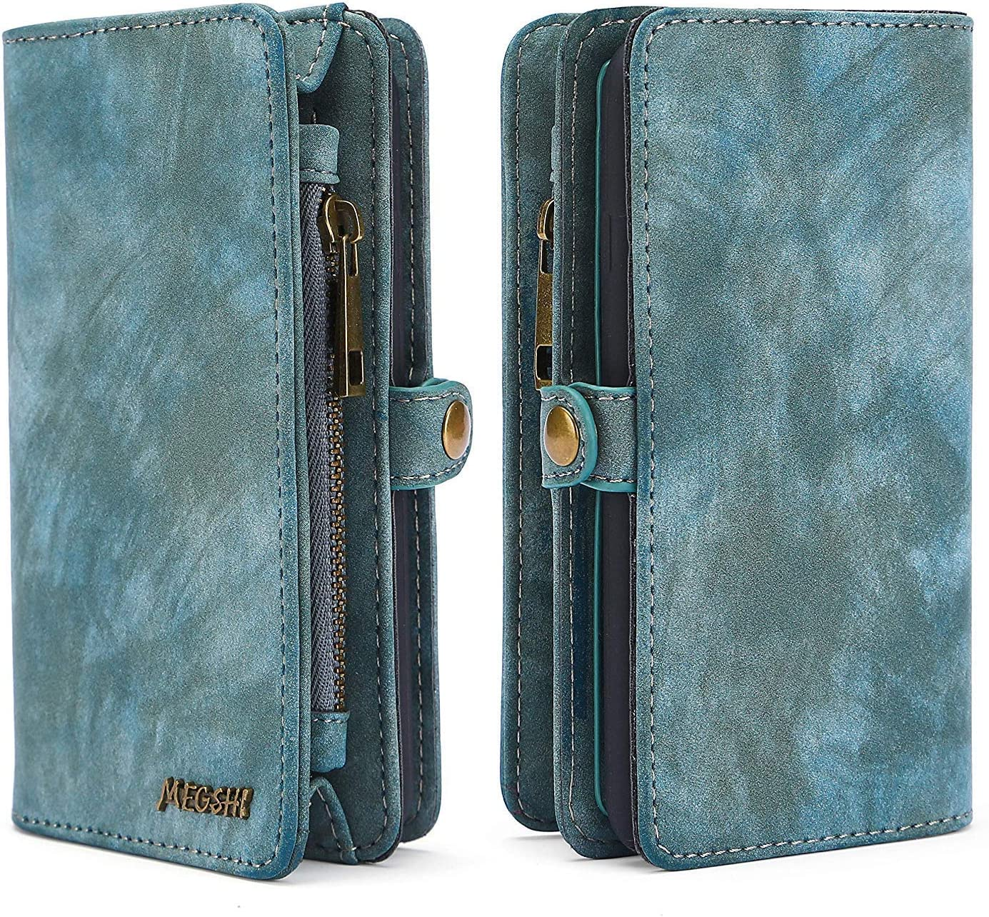 Spritech iPhone 7 Plus Wallet Case,Handmade Leather Large Capacity Detachable Scratch Resistant Zipper Wallet Cover with Credit Card Holder for iPhone 7 Plus iPhone 8 Plus