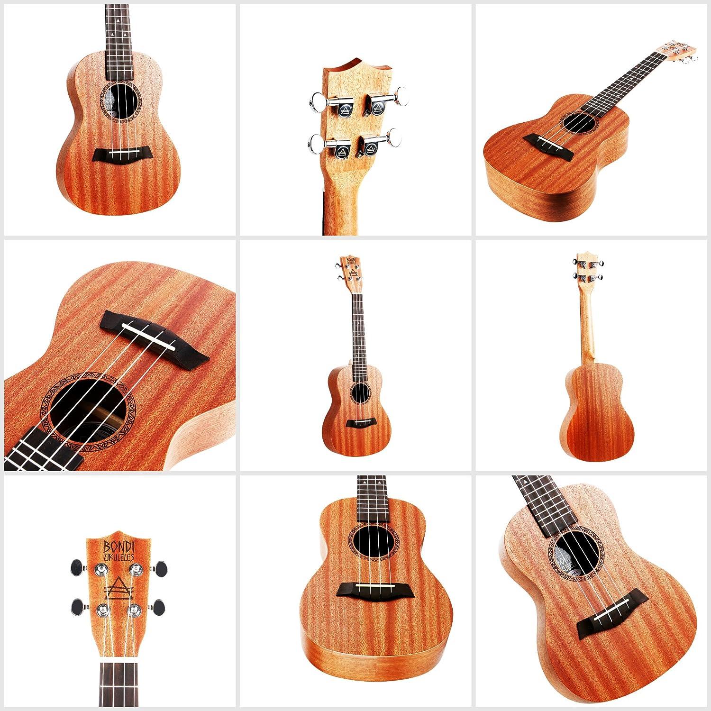 Set de principiante para aprender a tocar el ukelele; incluye clases por Skype, vídeos, funda, púas de fieltro antirrasguños, afinador, pegatinas para ...