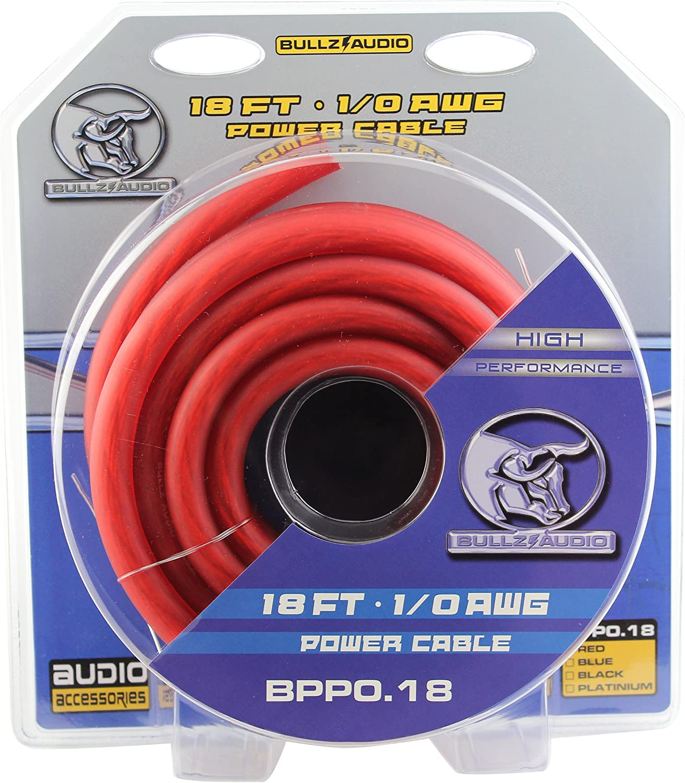 2 Pro Bullz Audio Gauge 50 Ft Feet Power Wire Ground Cable Blue Black Car 1//0