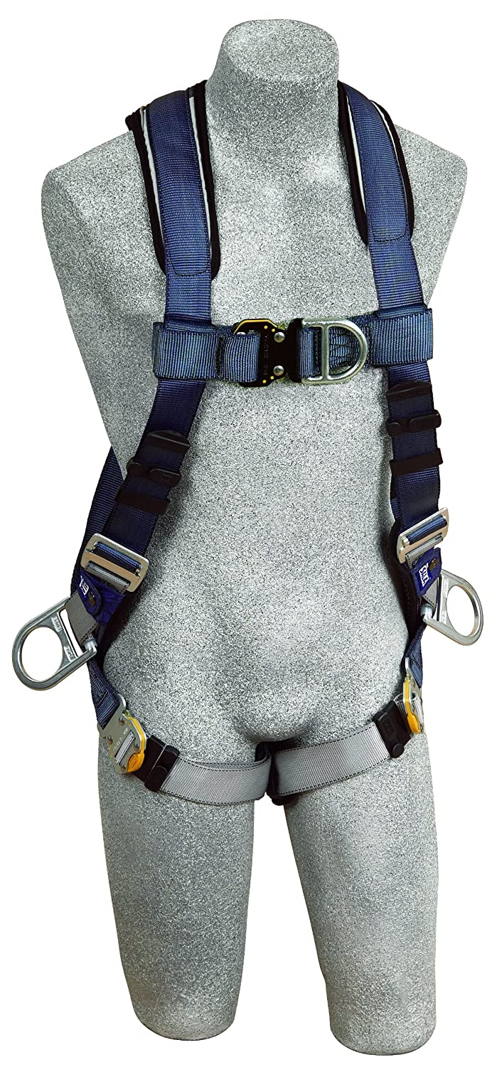 3M DBI-SALA ExoFit 1108602 Vest Style Harness, Front, Back and Side D-Rings, Loops For Belt, Quick-Connect Buckles, Large, Blue/Gray