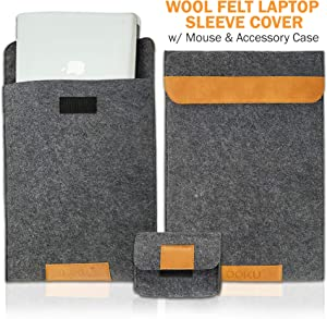 "OOKU 14-15.6 Inch Wool Felt Laptop Sleeve w/Leather Accents w/Mouse Accessory Case | Compatible for MacBook Pro 2015-2018 Dell XPS 15 HP Envy X360 Pavilion 15"" Protective Laptop Case Cover 