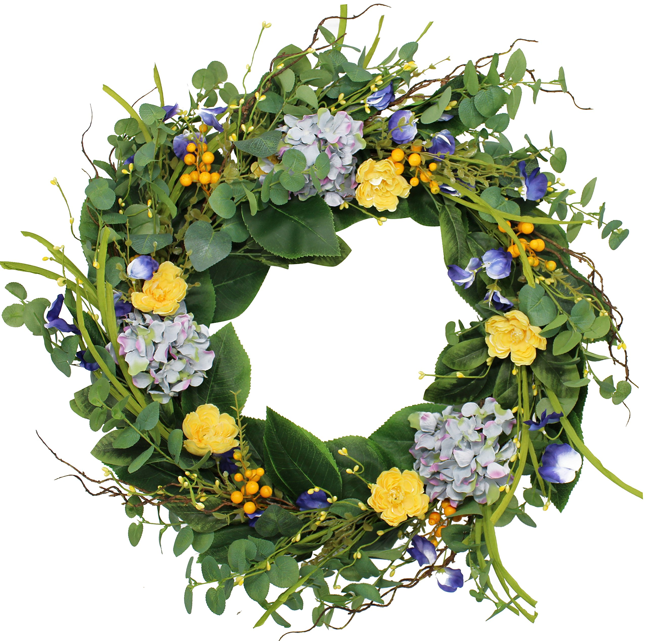 The Wreath Depot Aftonshire Silk Spring Front Door Wreath 24 Inch, Beautiful Handcrafted Wreath Design, White Storage Gift Box Included