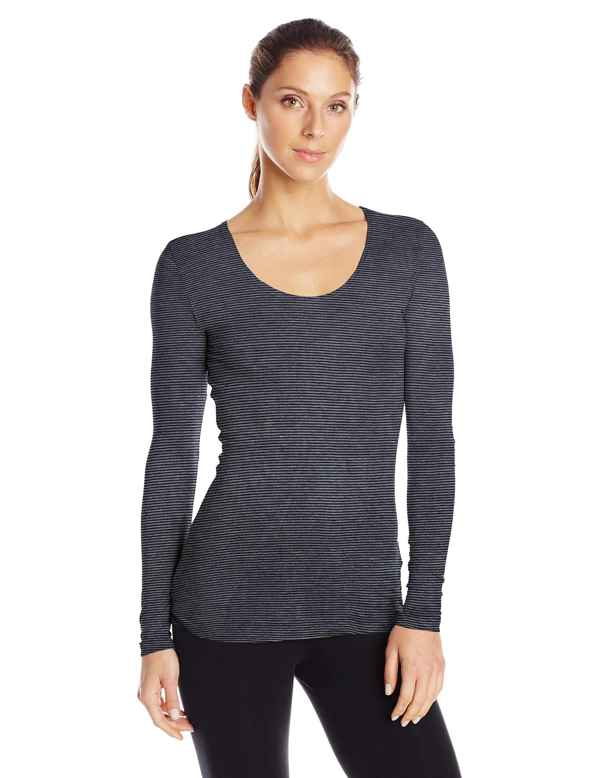 32Degrees Women's Heat Scoop Neck Thermal Top, Heather Grey, Medium