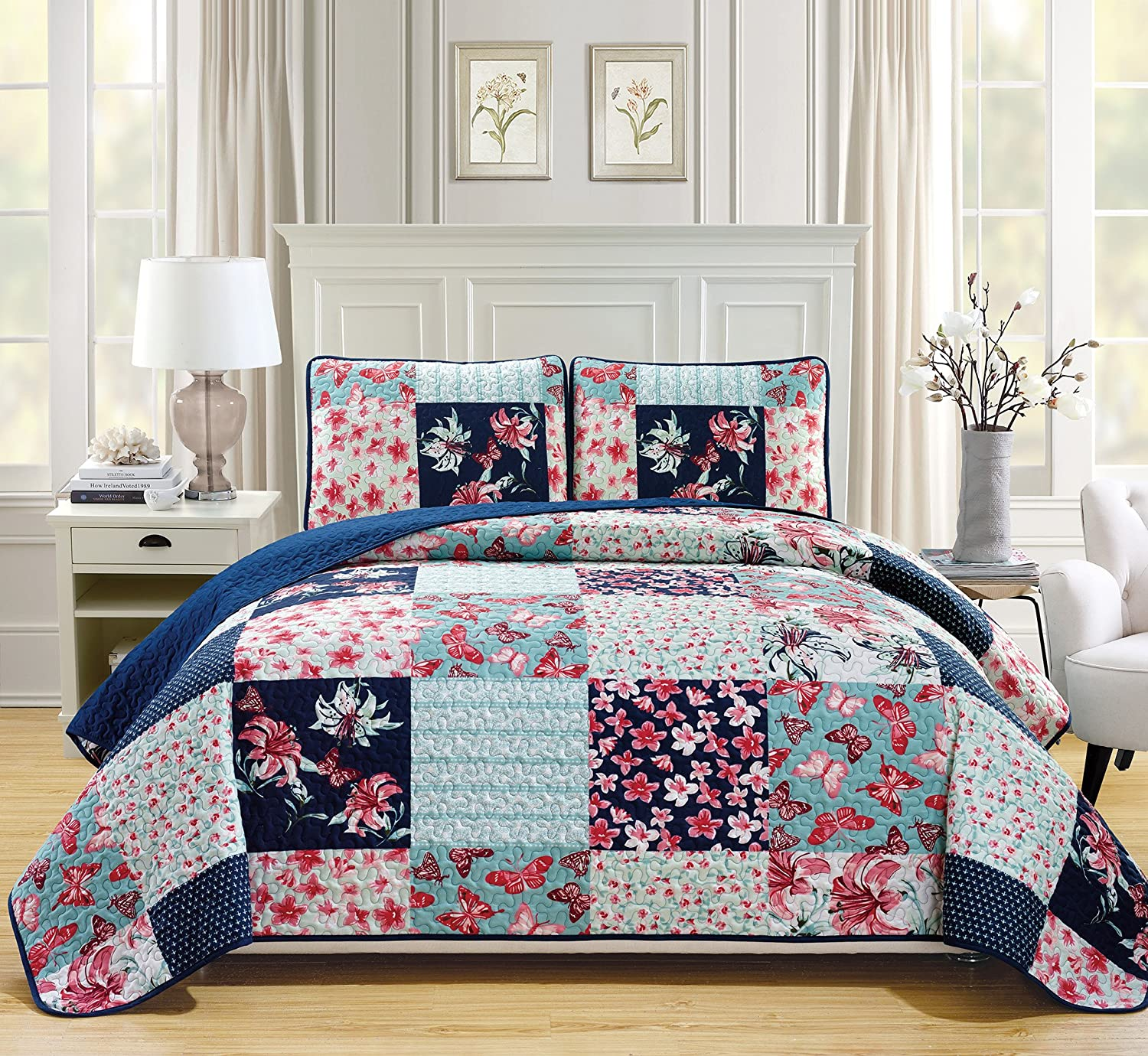 Mk Collection 3pc Bedspread Coverlet Quilted Flower Butterfly Off White Navy Blue Teal Green Red Full/Queen Over Size 106