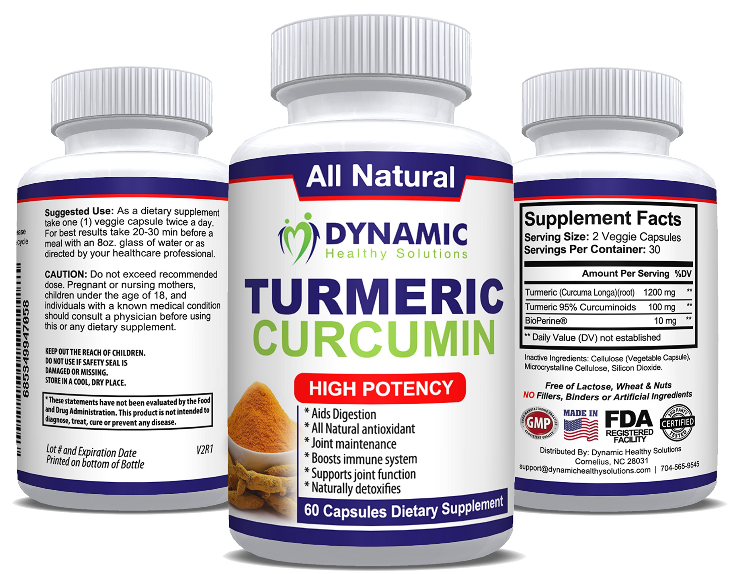 Natural Joint Pain Relief Supplement - Turmeric Curcumin 1300 mg Per Serving - 95% Curcuminoids - 60 Vegetarian Capsules