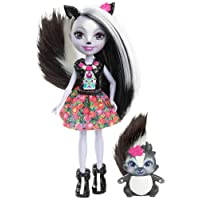 Enchantimals Mini-poupée Sage Moufette et Figurine Animale Caper, aux cheveux noir et blanc avec jupe à motifs en tissu, jouet enfant, DYC75