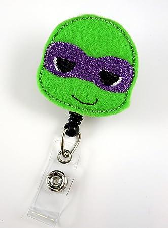 Ninja Turtle Purple - Nurse Badge Reel - Retractable ID Badge Holder - Nurse Badge - Badge Clip - Badge Reels - Pediatric - RN - Name Badge Holder