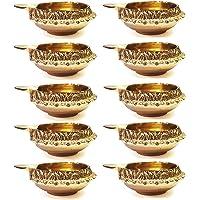100% Pure Virgin Brass Diwali Diya (Set of 10) Indian Pooja Oil Lamp - Golden Engraved Design Dia - 2.5 Inch. Deepawali…