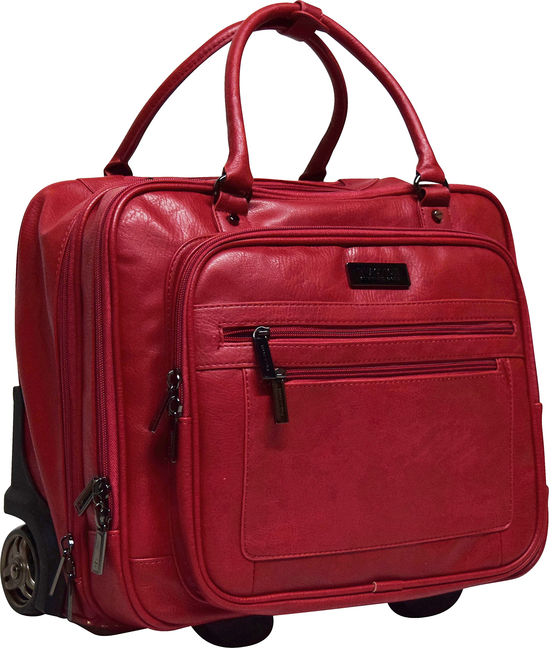 Kenneth Cole Reaction Wheel Fast Double Compartment Top Zip Wheeled Computer Case Overnighter (Red)